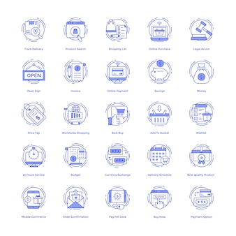 Winkelen vector icons set