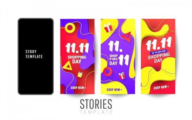 Winkelen verhalen verkoop banner met plastic vloeibare gradiëntgolf en driehoekige gradiëntvormen