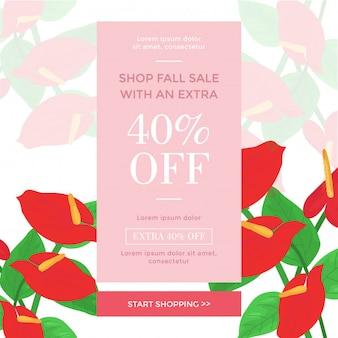 Winkelen verkoop banner sjablonen met tropische bloemen