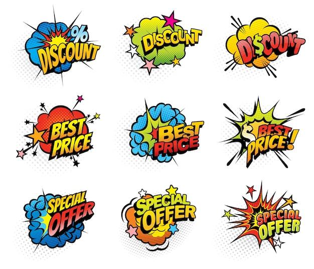 Winkelen verkoop speciale aanbieding cartoon strips bubbels