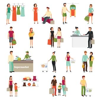 Winkelende mensen die met de vlakke geïsoleerde vectorillustratie van supermarktsymbolen worden geplaatst