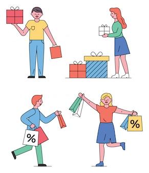 Winkelende mensen man en vrouw met geschenken