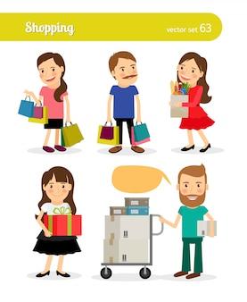 Winkelende mensen met winkelmandje en winkelwagentje