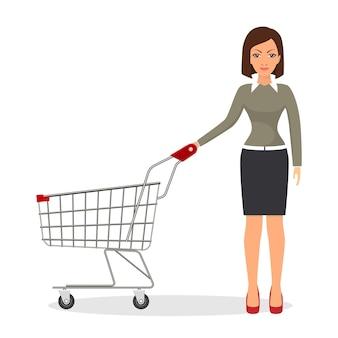 Winkelende vrouw met een kar