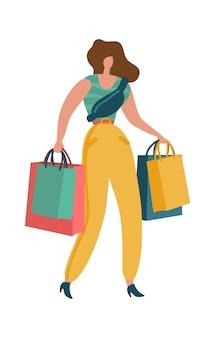 Winkelende vrouw. shopaholic vrouw met boodschappentas in winkelcentrum jonge mooie mode byer meisje afbeelding te koop of korting reclame. cadeaus en cadeautjes kopen platte vector geïsoleerde cartoonillustratie