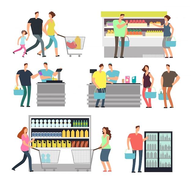 Winkelende winkelmensen in supermarkt. gezinskopers en winkelmedewerkers in winkelcentrum