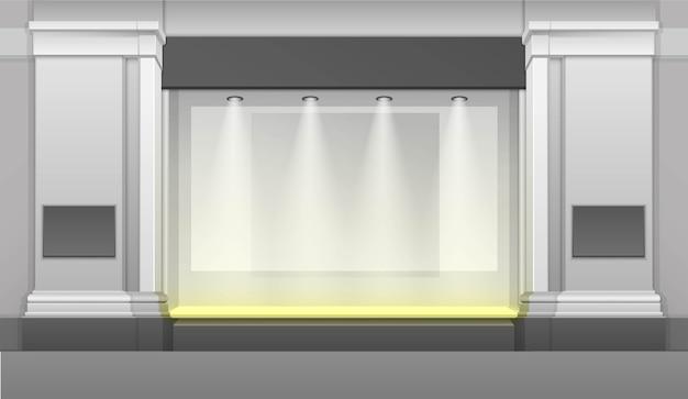 Winkelgebouw met showcase, achtergrondverlichting geïsoleerd