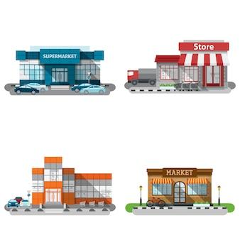 Winkelgebouwen icons set