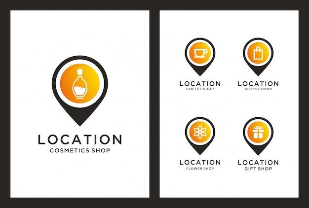 Winkellocatie logo-ontwerp in pin marker concept.
