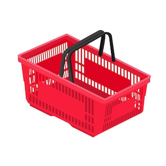 Winkelmandje in supermarkt en winkel. winkelwagen icoon voor webshops. vectorillustratie in vlakke stijl