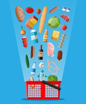 Winkelmandje met verse producten. kruidenier supermarkt. eten en drinken. melk, groenten, vlees, kippenkaas, worstjes, salade, broodgranen steak ei. vector illustratie vlakke stijl