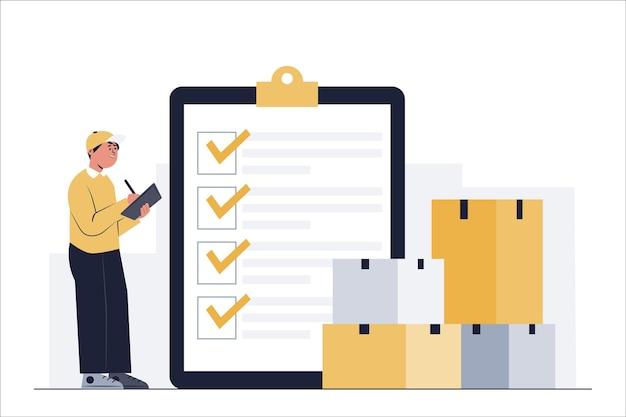 Winkelpersoneel controleert het aantal producten dat overdag bij klanten moet worden afgeleverd