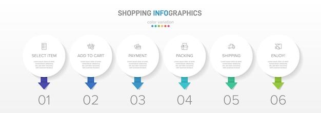 Winkelproces met zes kleurrijke opeenvolgende tijdlijnstappen infographic-elementen