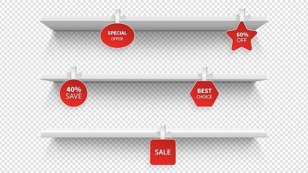 Winkelrekken. geïsoleerde presentatierekken voor de detailhandel. supermarkt 3d plank met wobblers. promotionele standaard- en verkoop- of kortingsmodellen. detailhandel met wiebelaar, reclameillustratie