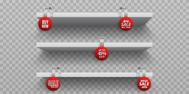 Winkelrekken met wiebelaars. witte 3d lege wandplank met realistische ronde promotionele wobblers.