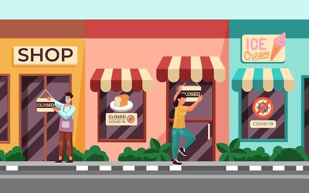 Winkels gesloten wegens pandemie