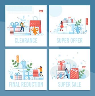 Winkelverkoop op wintervakantie cartoon kaarten set