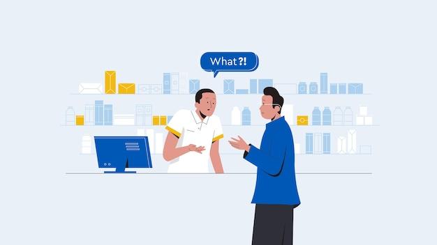 Winkelverkoper assistent met een dialoog met een klant