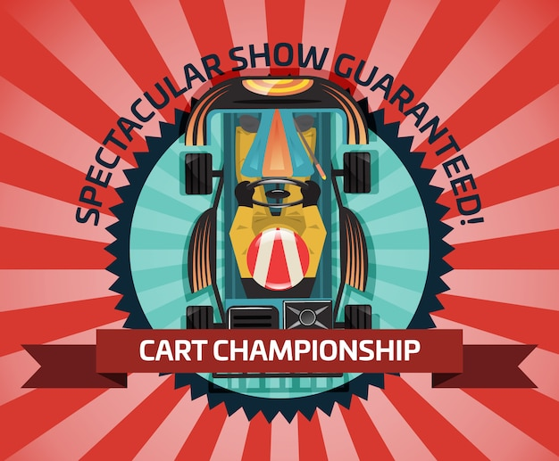 Winkelwagen kampioenschap of auto competitie concept