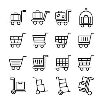 Winkelwagen lijn pictogrammen pack