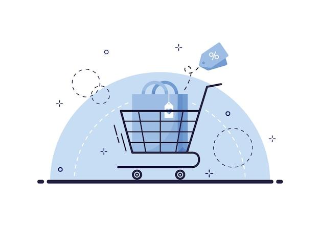 Winkelwagen met boodschappentas illustratie