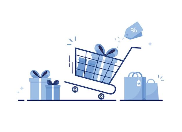 Winkelwagen met geschenkdozen, boodschappentassen of cadeautjes met strik en lint voor e-shop. blauw