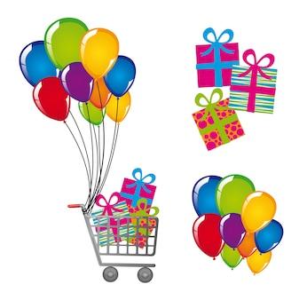 Winkelwagen met geschenken en ballonnen geïsoleerd