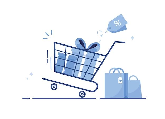 Winkelwagen met geschenkverpakkingen en boodschappentassen van online winkel voor e-commerce marketing, voorzien van verkoop en korting. blauw
