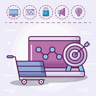 Winkelwagen met set pictogrammen
