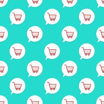 Winkelwagen pictogram patroon op groene achtergrond. vector illustratie.