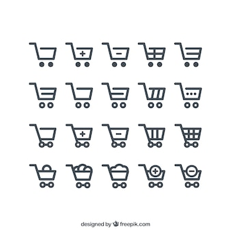 Winkelwagen pictogrammen