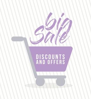 Winkelwagen van een paarse kleur met grote verkoopkortingen en biedt illustratieontwerp