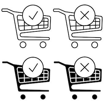 Winkelwagentje en vinkje. de bestelling is voltooid. een bestelling plaatsen. trolleysymbool voor online marketing en winkelen. enige winkel. compleet winkelen, betalen. vector geïsoleerd op witte achtergrond