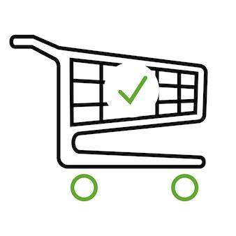 Winkelwagentje en vinkje. de bestelling is voltooid. een bestelling plaatsen. trolleysymbool voor zaken en online marketing of winkelen. compleet winkelen, betalen. vector geïsoleerd op witte achtergrond