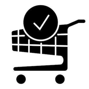 Winkelwagentje en vinkje. de bestelling is voltooid. een bestelling plaatsen. trolleysymbool voor zaken en online marketing of winkelen. vectorpictogram in glyph-stijl, geïsoleerd op een witte achtergrond