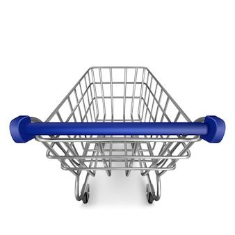 Winkelwagentje, lege supermarktkar uitzicht vanaf de eerste persoon geïsoleerd op wit