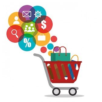 Winkelwagentje met elektronische handel pictogrammen