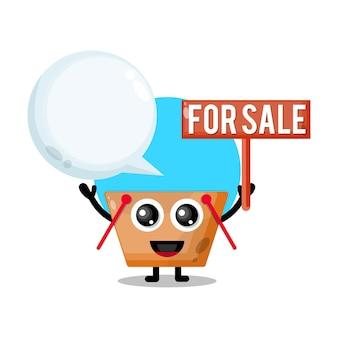 Winkelwagentje te koop schattige karakter mascotte