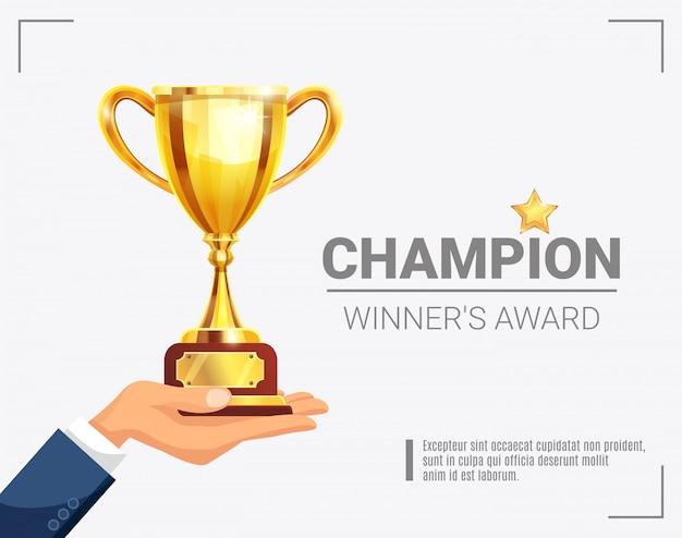 Winnaar award champion trophy-sjabloon Gratis Vector