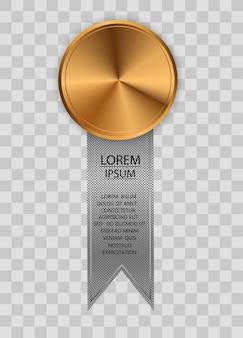 Winnaar award competitie prijs medaille en banner voor tekst award medailles geïsoleerd