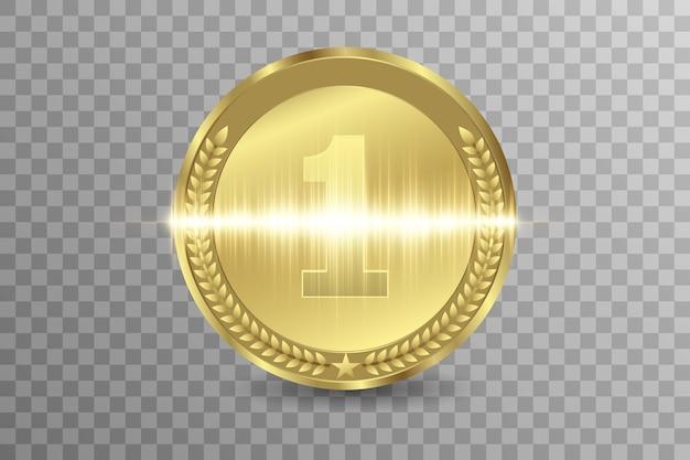Winnaar award competitie, prijsmedaille en banner voor tekst.