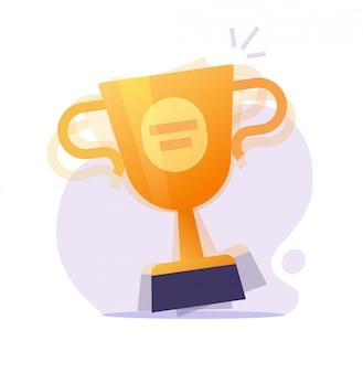 Winnaar award prijs en verrassing met gouden beker of kampioen wedstrijd prestatie geschenk beloning gouden trofee platte cartoon