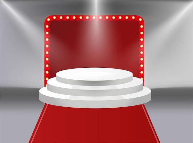 Winnaar banner. win gefeliciteerd vintage frame. talentenjacht teken. getalenteerde podiumbanner, sneeuwscène rode gordijnen