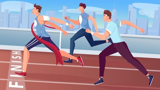 Winnaar beëindigt vlakke compositie met uitzicht op buitenracebaan met stadsgezicht en lopende atleetkarakters illustratie