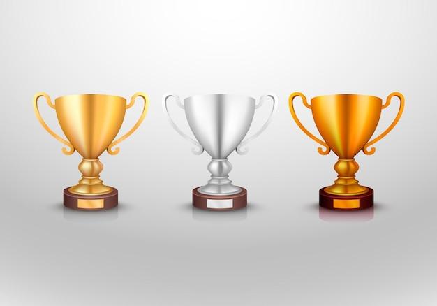 Winnaar beker goud zilver brons teken set, object collectie. vector illustratie