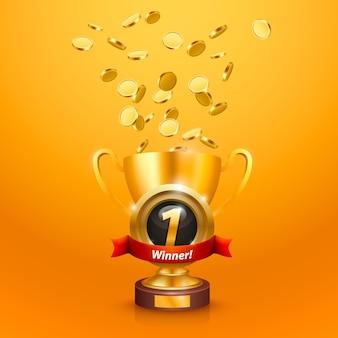 Winnaar beker nummer één met een overwinning. vector illustratie