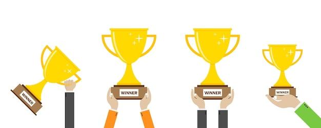 Winnaar beker. zakenman cup award in de hand houden. succesvolle leiderschap idee illustratie