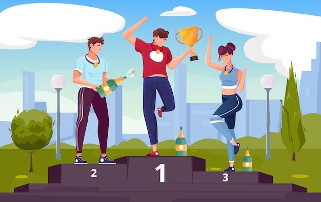 Winnaar beloont platte compositie met buitenlandschap met stadsgezicht en karakters van gelukkige atleten op podiumillustratie