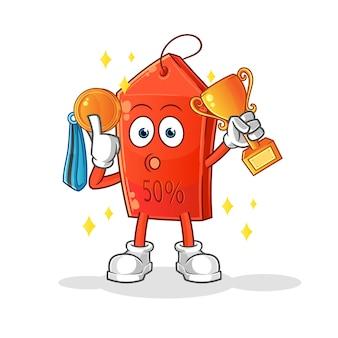 Winnaar chocolade-ijs met trofee en medaille cartoon mascotte