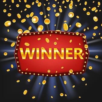 Winnaar frame label sjabloon voor spandoek win gefeliciteerd vintage frame achtergrond